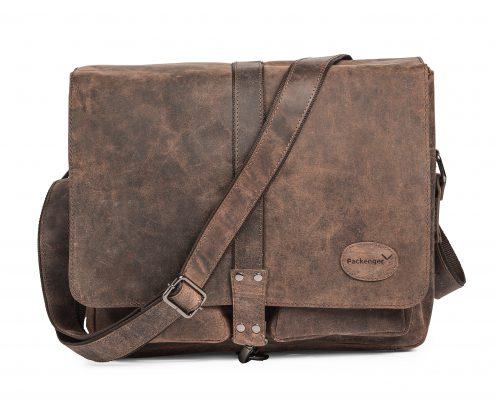 Geldbörse und Messengerbag aus braunem Leder im Zweierpack - robust und funktional sowie stylisch im Used-Look